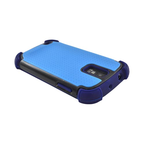 T-Mobile Samsung Galaxy S2 Perforated Hybrid Hard Cover Over Silicone Case - Sky Blue/ Navy Blue/ Black