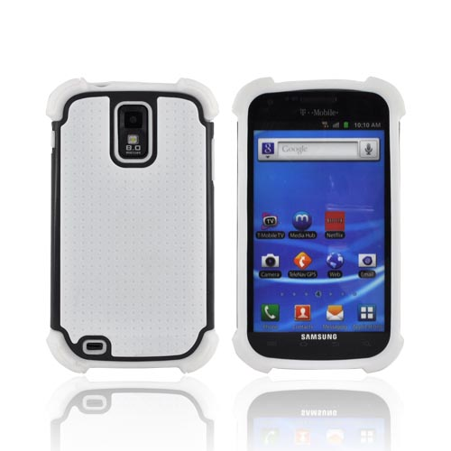 T-Mobile Samsung Galaxy S2 Perforated Hybrid Hard Cover Over Silicone Case - White/ Black