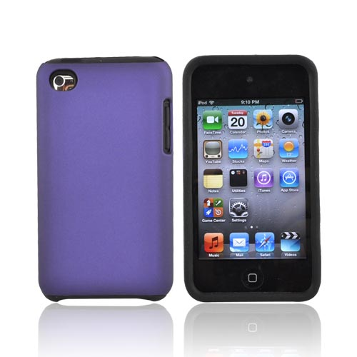 Luxmo Apple iPod Touch 4 Rubberized Hard Case w/ Silicone Case - Black/Purple