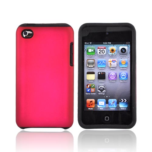 Luxmo Apple iPod Touch 4 Rubberized Hard Case w/ Silicone Case - Black/Rose Pink