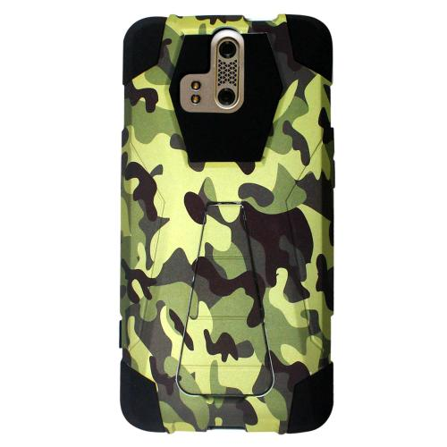 ZTE Axon Pro Case, [Green Camoflage] Supreme Protection Rubberized Hard on Silicone Dual Layer Hybrid Case w/ Kickstand