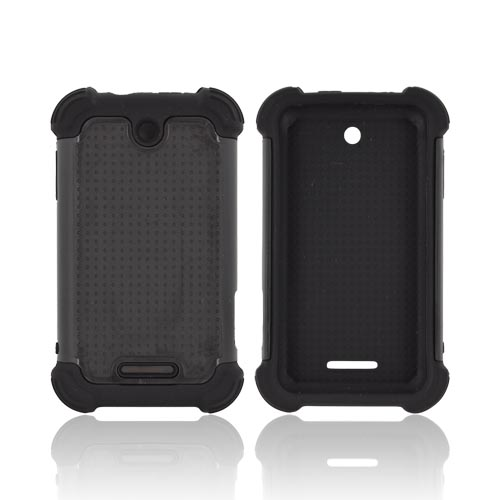 ZTE Score X500 Perforated Hybrid Hard Cover Over Silicone Case - Black