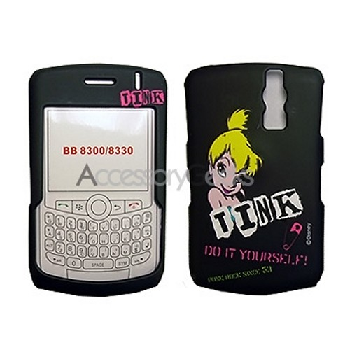 MOBO Disney Licensed Blackberry Curve 8330, 8320, 8310, 8300 / Rubberized Hard Case - Punk Rock Tinkerbell on Black