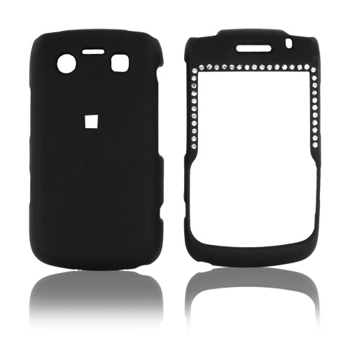 Blackberry Bold 9780 9700 Rubberized Hard Case & Gems - Black