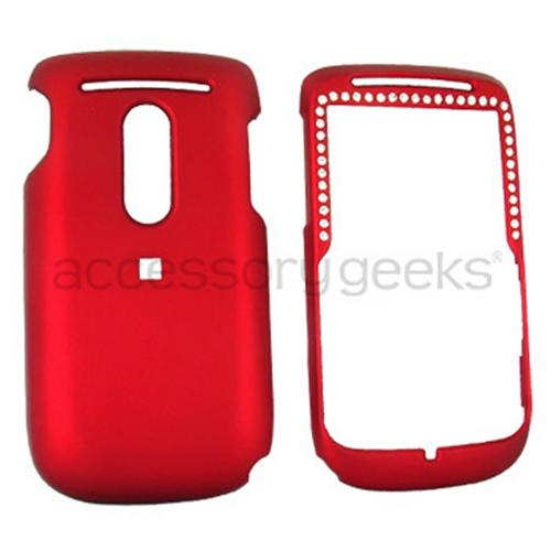 TMobile Dash 3G S522 Rubberized Hard Case w/ Gems & Belt Clip - Red