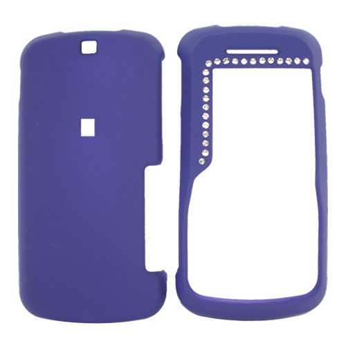 Motorola Clutch i465 Rubberized Hard Case w/ Gems - Purple