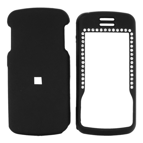 Motorola Debut i856 / Slider i856 Rubberized Hard Case w/ Gems & Belt Clip - Black