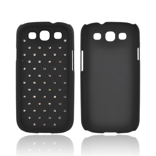 Samsung Galaxy S3 Rubberized Hard Back Case Cover w/ Bling - Silver Gems on Black