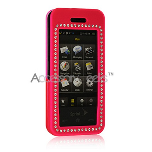 Samsung Instinct Rubberized Hard Case w/ Gems - Hot Pink