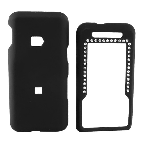 MetroPCS ZTE C70 Rubberized Hard Case w/ Gem - Black