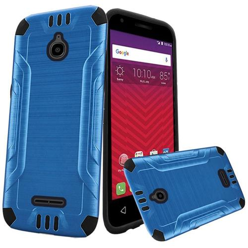 Alcatel Dawn / Acquire / Streak Case, Slim Armor Brushed Metal Design Hybrid Hard Case on TPU [Dark Blue/ Black]