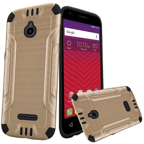 Alcatel Dawn / Acquire / Streak Case, Slim Armor Brushed Metal Design Hybrid Hard Case on TPU [Gold/ Black]