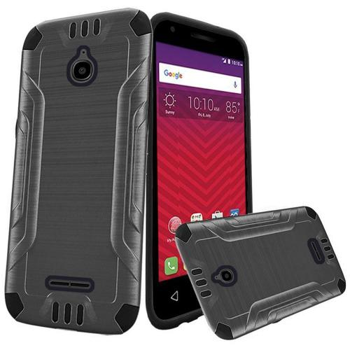 Alcatel Dawn / Acquire / Streak Case, Slim Armor Brushed Metal Design Hybrid Hard Case on TPU [Gray/ Black]