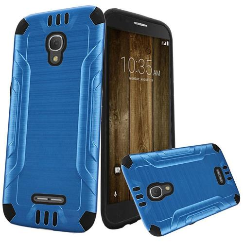Alcatel Fierce 4 Case, Slim Armor Brushed Metal Design Hybrid Hard Case on TPU [Dark Blue/ Black]