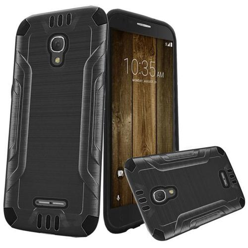 Alcatel Fierce 4 Case, Slim Armor Brushed Metal Design Hybrid Hard Case on TPU [Gray/ Black]