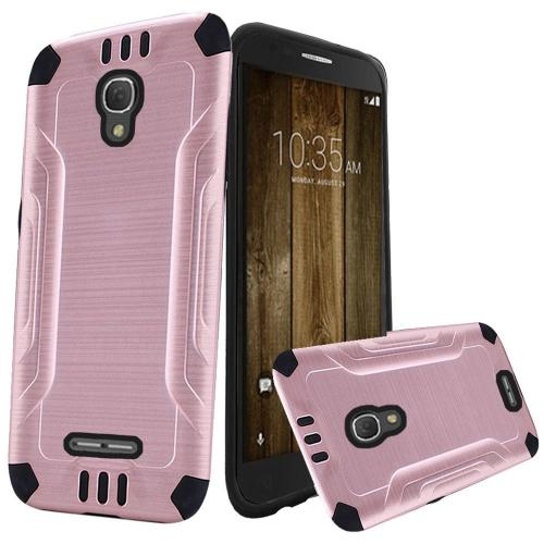 Alcatel Fierce 4 Case, Slim Armor Brushed Metal Design Hybrid Hard Case on TPU [Rose Gold/ Black]