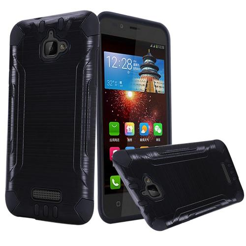 Coolpad Catalyst Case, Slim Armor Brushed Metal Design Hybrid Hard Case on TPU [Black]