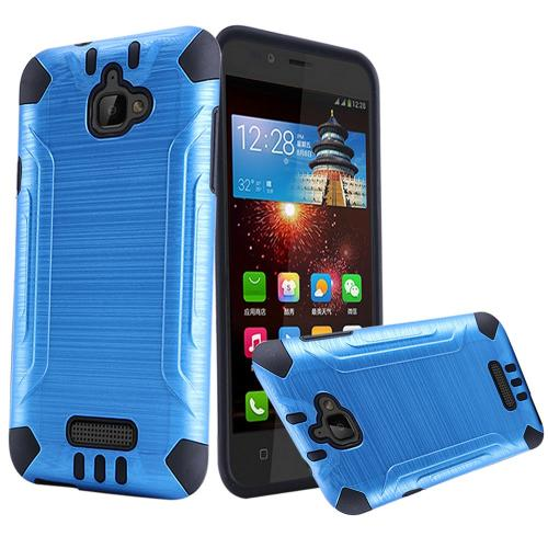 Coolpad Catalyst Case, Slim Armor Brushed Metal Design Hybrid Hard Case on TPU [Dark Blue/ Black]