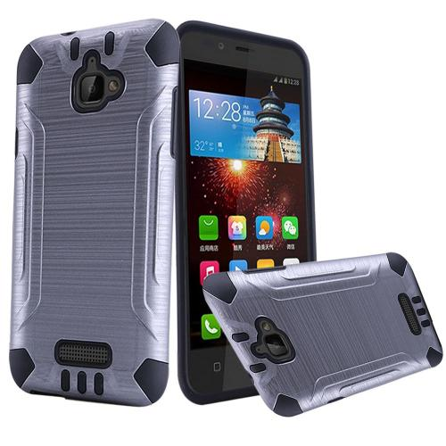 Coolpad Catalyst Case, Slim Armor Brushed Metal Design Hybrid Hard Case on TPU [Gray/ Black]