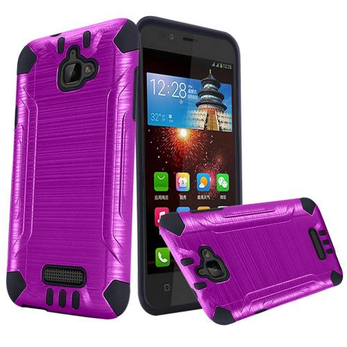 Coolpad Catalyst Case, Slim Armor Brushed Metal Design Hybrid Hard Case on TPU [Purple/ Black]