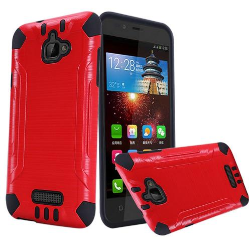 Coolpad Catalyst Case, Slim Armor Brushed Metal Design Hybrid Hard Case on TPU [Red/ Black]