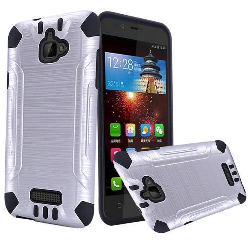 Coolpad Catalyst Case, Slim Armor Brushed Metal Design Hybrid Hard Case on TPU [Silver/ Black]