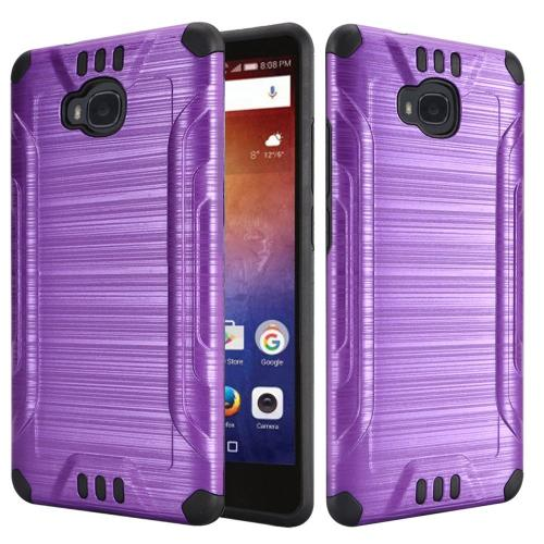 Huawei Ascend XT Case, Slim Armor Brushed Metal Design Hybrid Hard Case on TPU [Purple/ Black] with Travel Wallet Phone Stand