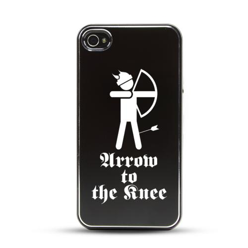 Apple iPhone 4/4S Rubberized Hard Case w/ Black Aluminum Back - Arrow to the Knee