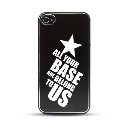 Apple iPhone 4/4S Rubberized Hard Case w/ Black Aluminum Back - All Your Base Are Belong To Us