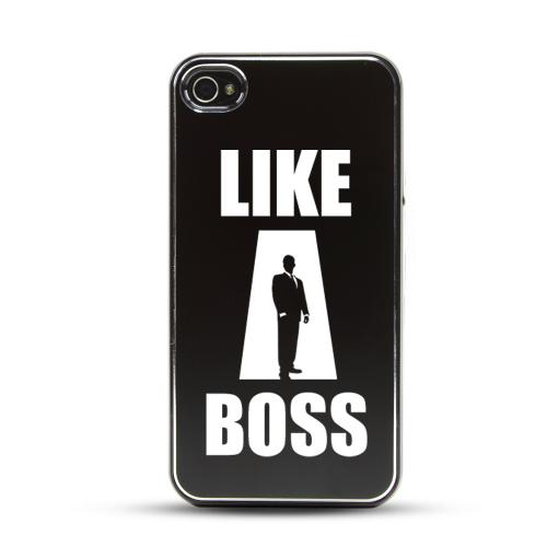 Apple iPhone 4/4S Rubberized Hard Case w/ Black Aluminum Back - Like a Boss