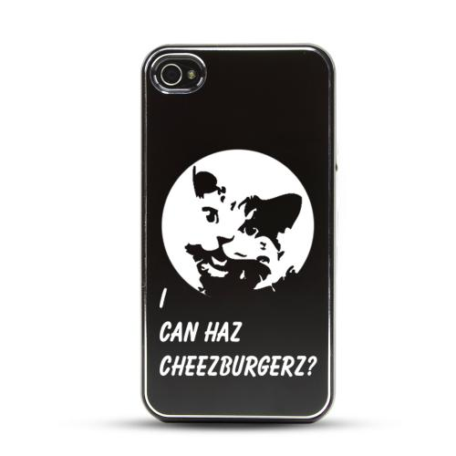 Apple iPhone 4/4S Rubberized Hard Case w/ Black Aluminum Back - I Can Haz Cheezburgerz?