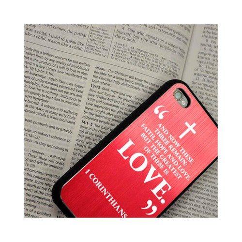 Apple iPhone 4/4S Rubberized Hard Case w/ Black Aluminum Back - 1 Corinthians 13:13
