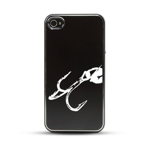 Apple iPhone 4/4S Rubberized Hard Case w/ Black Aluminum Back - Fish Hook 2.0