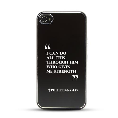 Apple iPhone 4/4S Rubberized Hard Case w/ Black Aluminum Back - Philippians 4:13
