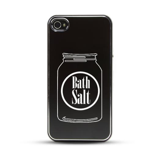 Apple iPhone 4/4S Rubberized Hard Case w/ Black Aluminum Back - Bath Salt Jar