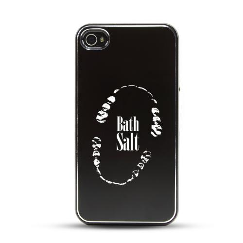 Apple iPhone 4/4S Rubberized Hard Case w/ Black Aluminum Back - Bath Salt Teeth
