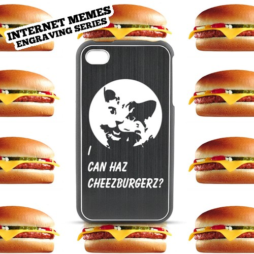 Apple iPhone 4/4S Rubberized Hard Case w/ Black Aluminum Back - LOL U MAD?