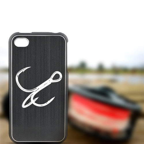 Apple iPhone 4/4S Rubberized Hard Case w/ Red Aluminum Back - Fish Hook