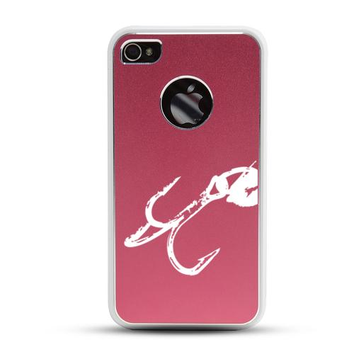 Apple iPhone 4/4S Rubberized Hard Case w/ Red Aluminum Back - Fish Hook 2.0