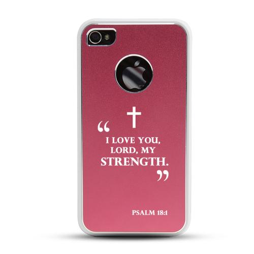 Apple iPhone 4/4S Rubberized Hard Case w/ Red Aluminum Back - Psalm 18:1