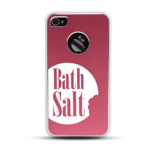 Apple iPhone 4/4S Rubberized Hard Case w/ Red Aluminum Back - Bath Salt Bite