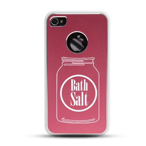 Apple iPhone 4/4S Rubberized Hard Case w/ Red Aluminum Back - Bath Salt Jar