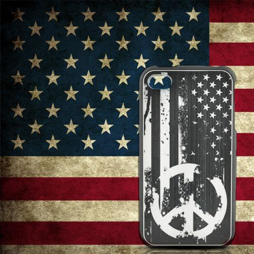 Apple iPhone 4/4S Rubberized Hard Case w/ Red Aluminum Back - U.S. Peace Sign