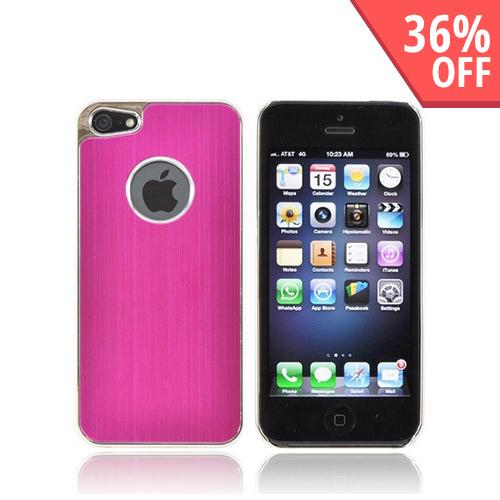 Apple iPhone 5/5S Hard Back Case w/ Aluminum - Hot Pink