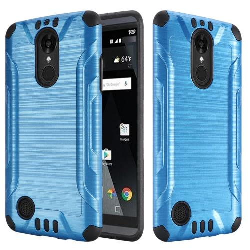 LG Aristo Case, Slim Armor Brushed Metal Design Hybrid Hard Case on TPU [Dark Blue/ Black]