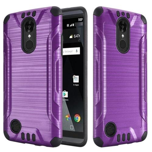 LG Aristo Case, Slim Armor Brushed Metal Design Hybrid Hard Case on TPU [Purple/ Black]