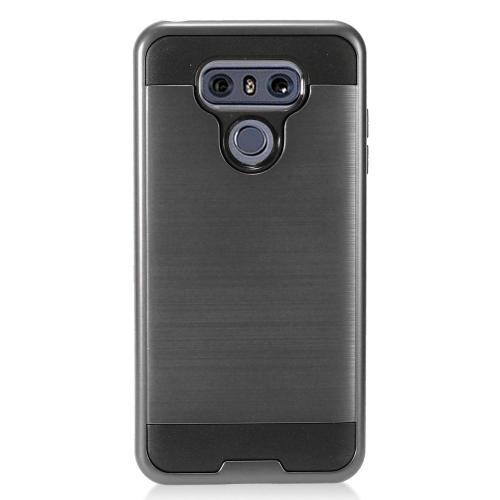 LG G6 Case, Super Slim Brushed Metallic Hybrid Hard Cover on TPU [Black] with Travel Wallet Phone Stand