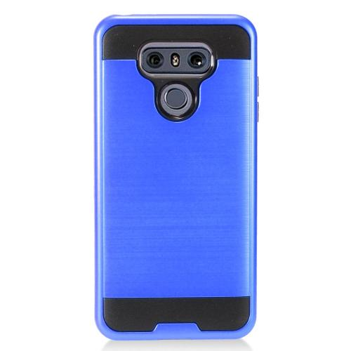 LG G6 Case, Super Slim Brushed Metallic Hybrid Hard Cover on TPU [Royal Blue] with Travel Wallet Phone Stand