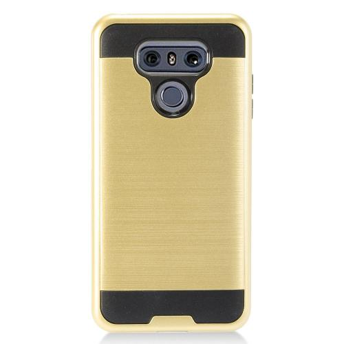 LG G6 Case, Super Slim Brushed Metallic Hybrid Hard Cover on TPU [Gold] with Travel Wallet Phone Stand