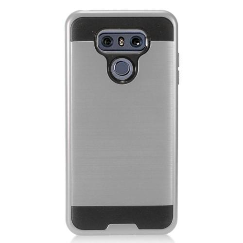 LG G6 Case, Super Slim Brushed Metallic Hybrid Hard Cover on TPU [Standard Gray] with Travel Wallet Phone Stand